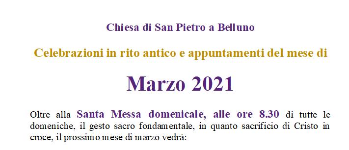 Appuntamenti del mese di Marzo 2021